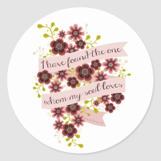 Song of Solomon Love Quote Romantic Floral Round Stickers
