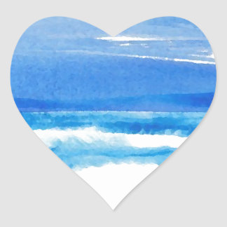 Song of the Seashore - CricketDiane Ocean Waves Heart Sticker