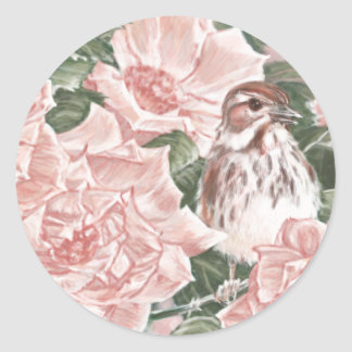 Song Sparrow and Pink Roses Flower Painting Round Sticker