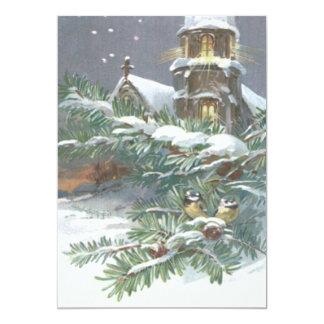 Songbird Evergreen Church Christian Cross Snow 13 Cm X 18 Cm Invitation Card
