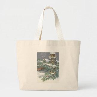 Songbird Evergreen Church Christian Cross Snow Jumbo Tote Bag