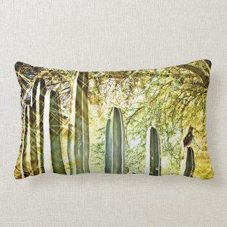SongBird on Stove Pipe Cactus Poly Lumbar Pillow