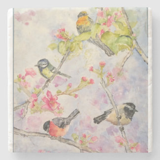 Songbirds Watercolor Art Stone Coaster