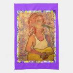 songstress drip painting towel