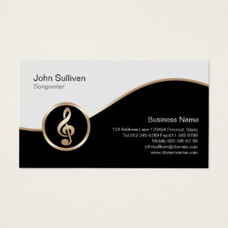 Songwriter Business Card Gold Treble Clef Icon