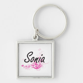 Sonia Artistic Name Design with Flowers Key Ring