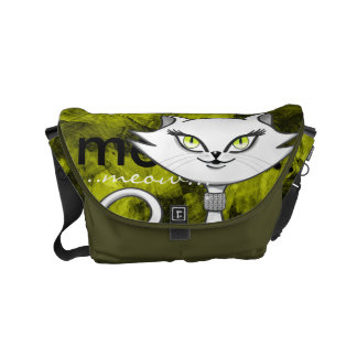 Sonia the green eyes bling cat. Artsy background Courier Bags