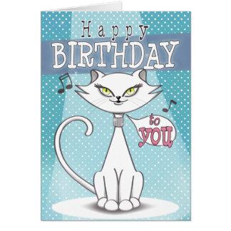 Sonia the singing cat Happy Birthday Greeting Card