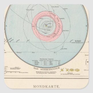 Sonnensystem, Mondkarte Celestial Map Square Sticker