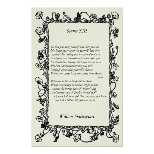 Sonnet # 13 by William Shakespeare Poster