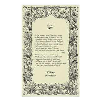 Sonnet 13 by William Shakespeare Poster