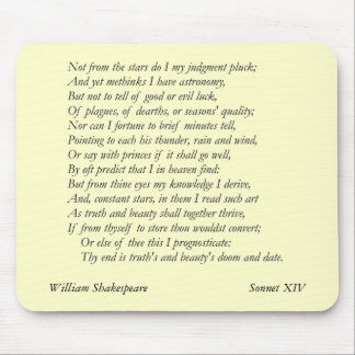 Sonnet # 14 by William Shakespeare Mouse Pad