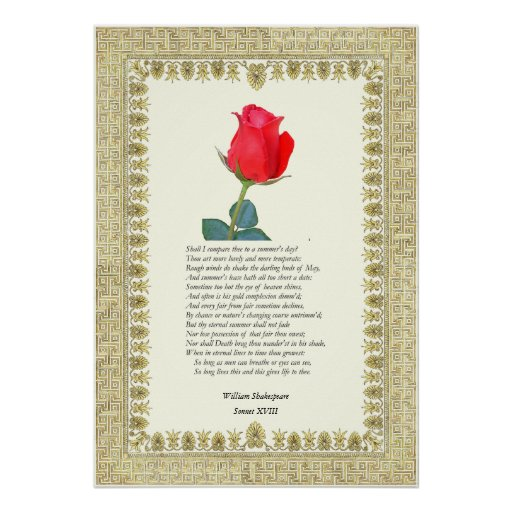 appreciation of shakespeares sonnet 18 A reading of a classic shakespeare sonnet 'when in disgrace with fortune and men's eyes, / i all alone beweep my outcast state' excluding sonnet 18, sonnet 29 is probably the first really famous poem in shakespeare's sonnet sequence.
