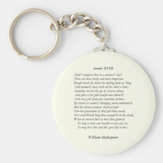 Sonnet # 18 by William Shakespeare Basic Round Button Key Ring