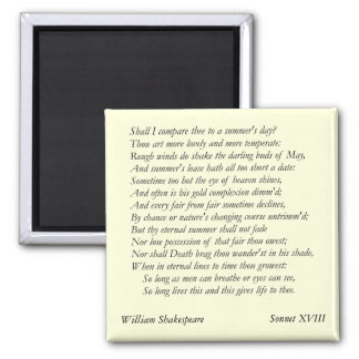 Sonnet # 18 by William Shakespeare Magnet