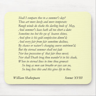 Sonnet # 18 by William Shakespeare Mouse Mat