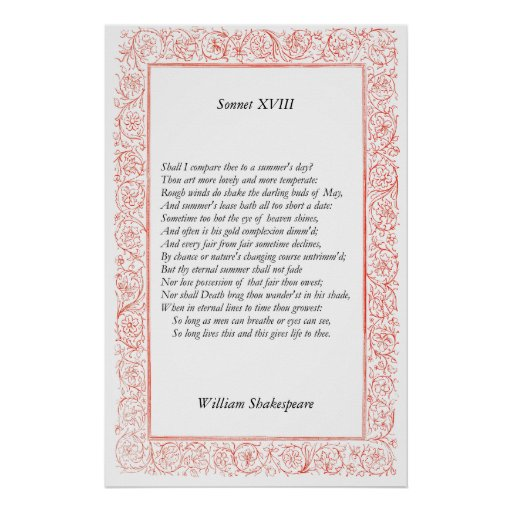 Sonnet # 18 by William Shakespeare Posters