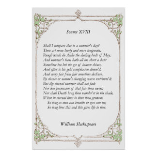 Sonnet 18 by William Shakespeare Posters