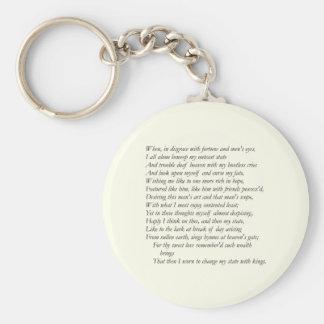 Sonnet # 29 by William Shakespeare Key Ring