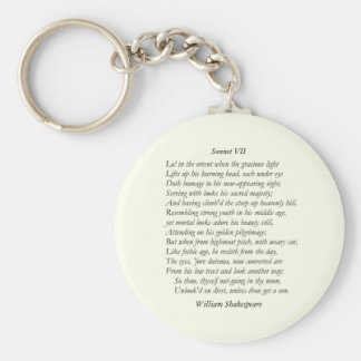 Sonnet # 7 by William Shakespeare Basic Round Button Key Ring