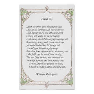 Sonnet # 7 by William Shakespeare Poster