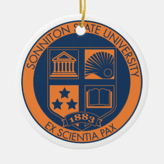 Sonniton State University Seal - Navy/Orange Christmas Ornament