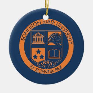 Sonniton State University Seal - Navy/Orange Ornaments