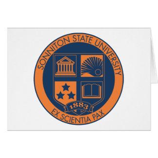 Sonniton State University Seal - Navy/Orange Greeting Card