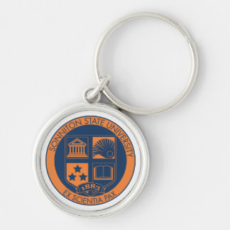 Sonniton State University Seal - Navy/Orange Silver-Colored Round Key Ring