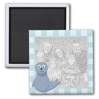 Sonny Seal Blue Striped Photo Frame Style Magnet