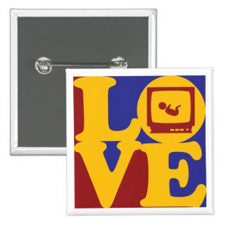 Sonograms Love 15 Cm Square Badge