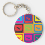 Sonograms Pop Art Basic Round Button Key Ring