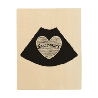 Sonography Heart Wood Wall Art Wood Prints