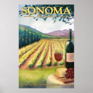 Sonoma, California Wine Country Travel Poster
