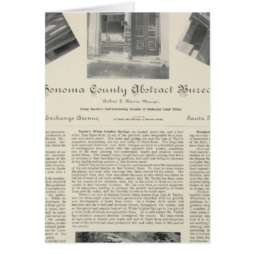 Sonoma County Abstract Bureau, California Cards