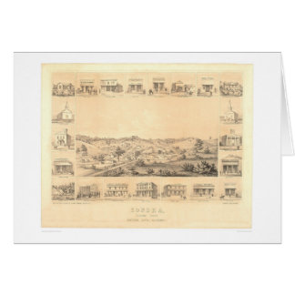 Sonora, CA. Panoramic Map 1854 (1647A) - Restored Greeting Card