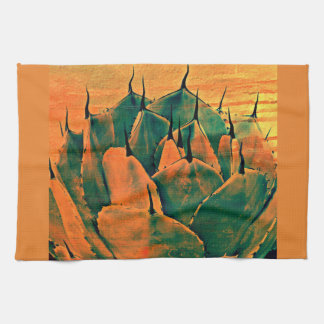 Sonoran Cactus in Orange Kitchen Towel