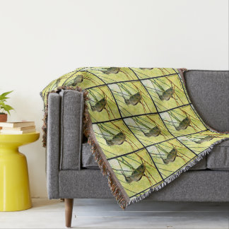 Sonoran Hummer in Yellow Throw Blanket