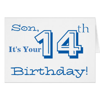 Son's 14th birthday greeting in blue and white. card