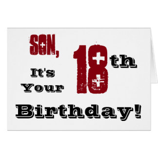 Son's 18th birthday greeting in black, red, white. greeting card