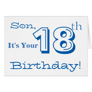 Son's 18th birthday greeting in blue and white. greeting card