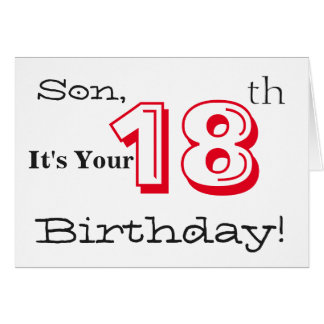 Son's 18th birthday greeting in red and black. greeting card