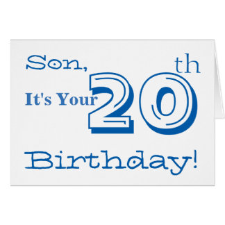 Son's 20th birthday greeting in blue and white. card
