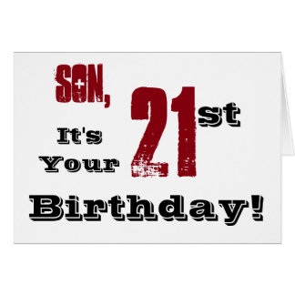 Son's 21st birthday greeting in black, red, white. card