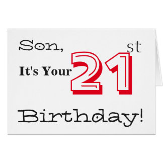 Son's 21st birthday greeting in red and black. card