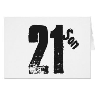 Son's 21st birthday, white and black. card