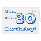 Son's 30th birthday greeting in blue and white. card