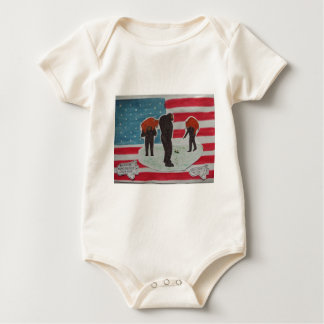 sons hunting with father & U,S,A.flag Baby Bodysuit