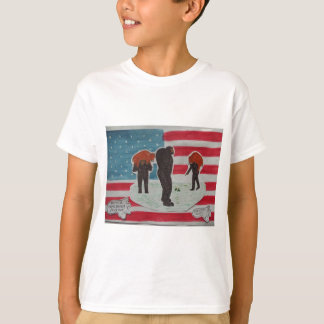 sons hunting with father & U,S,A.flag T-Shirt