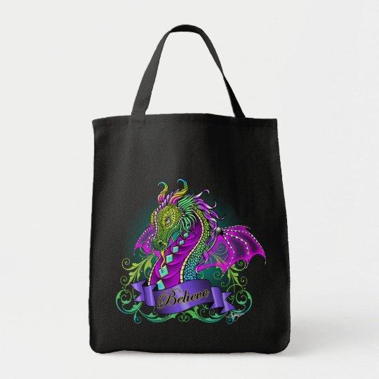 """Sonya"" Rainbow Believe Dragon Canvas Tote Bag"